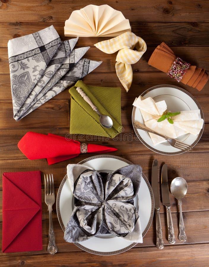 Collection Of Napkin Folding Royalty Free Stock Photo