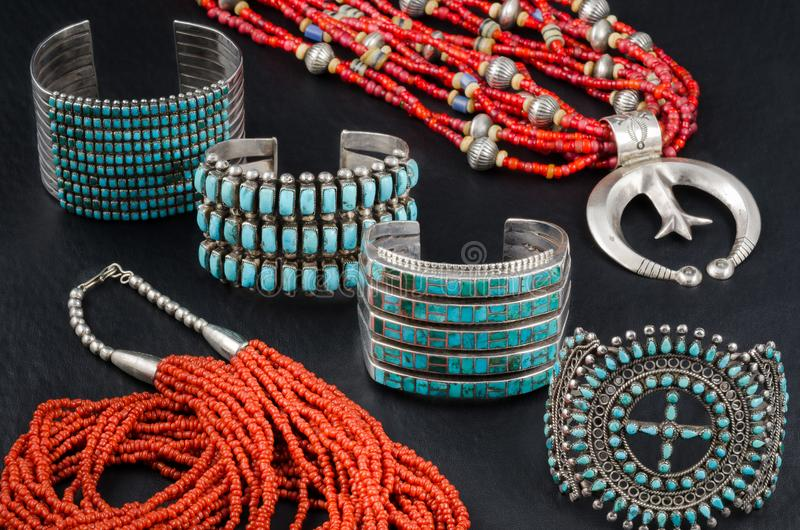 Collection of Native American Turquoise, Silver and Coral Jewelry stock photo