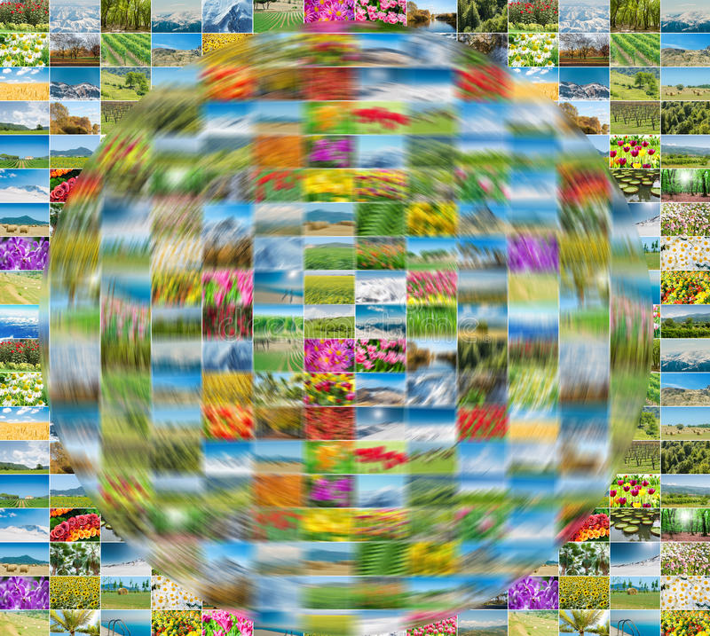 The collection of nature photos in collage concept royalty free stock images