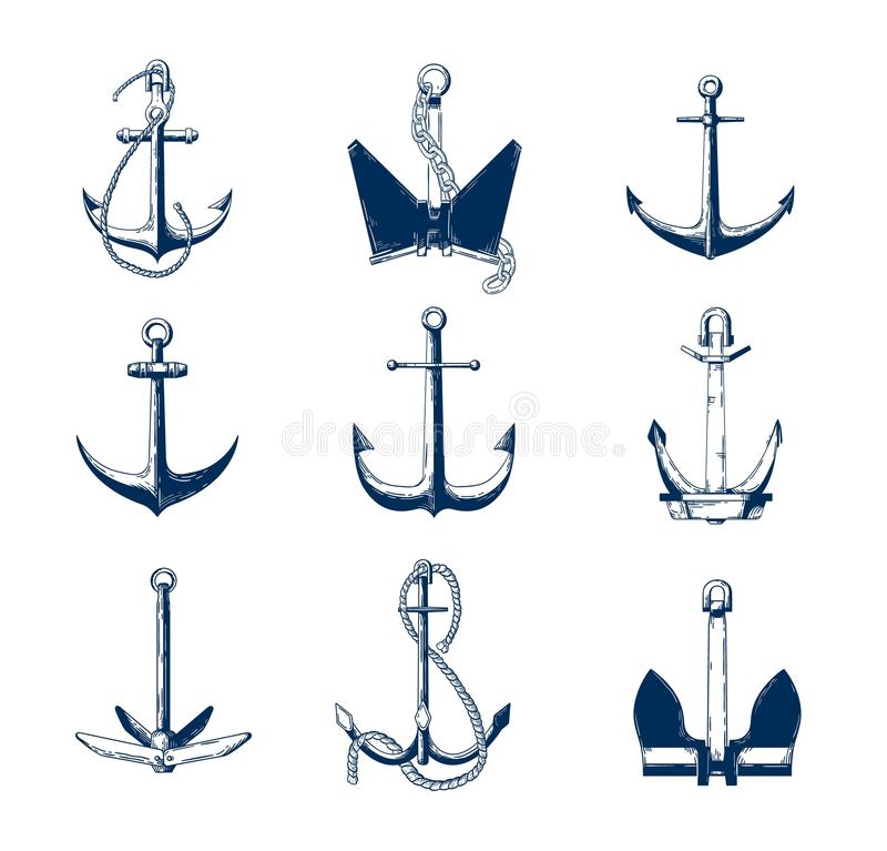 Collection of nautical anchors of various types hand drawn with navy contour lines on white background. Monochrome royalty free illustration