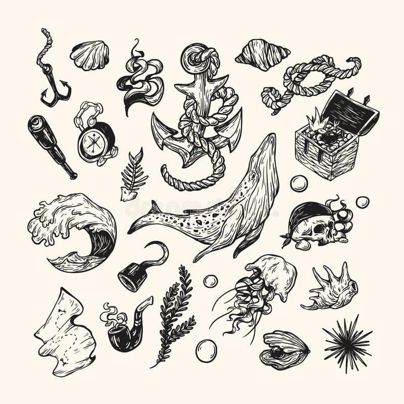 Collection nautique illustration de vecteur