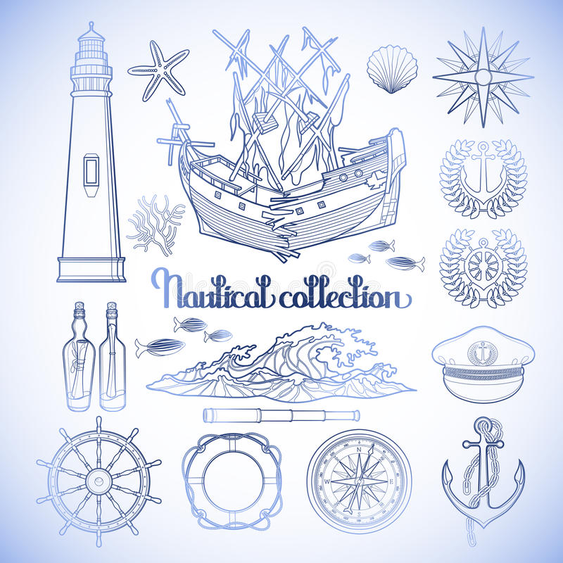 Collection nautique graphique illustration libre de droits