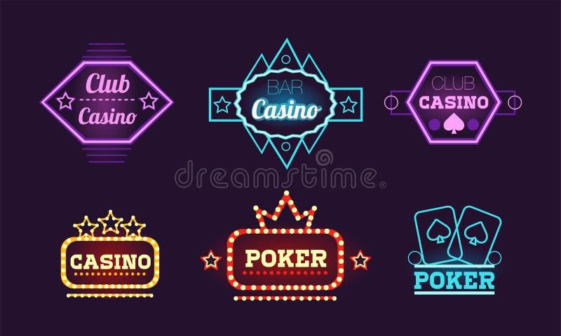 Collection of neon signs, casino, bar, poker club bright logo design templates vector Illustration. Web design vector illustration