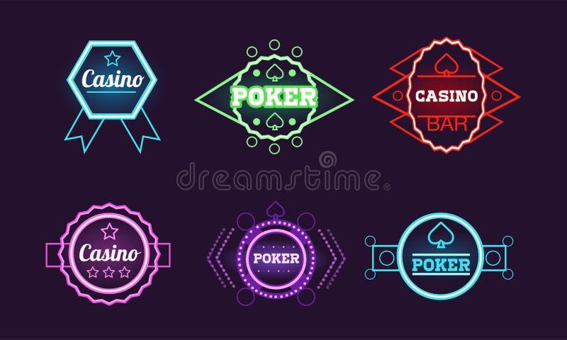 Collection of neon signs, casino, bar, poker club, gambling bright logo design templates vector Illustration. Web design vector illustration