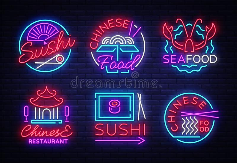 Collection neon signs Food. Set Logos in neon style Sushi, Seafood, Lobster, Chinese food, light emblem, night neon royalty free illustration