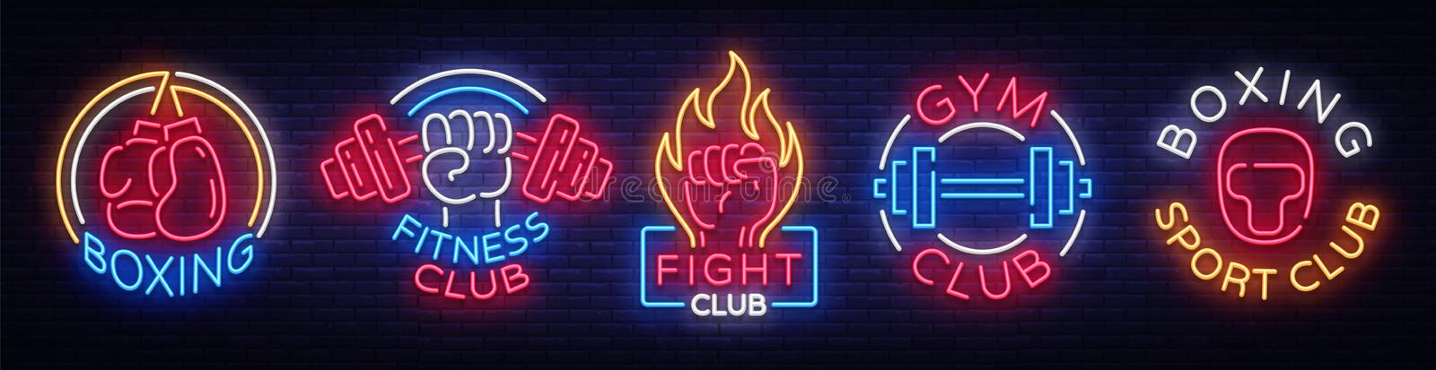 Collection neon signs for sports. Set neon logos emblems for Sports, design template symbols Boxing, Fitness Club, Fight vector illustration