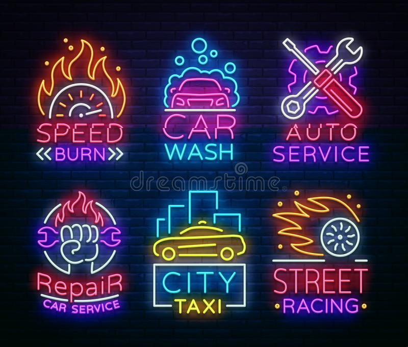 Collection neon signs Transport. Neon logo emblems, Taxi service, Car wash, auto service, car repair, street racing vector illustration