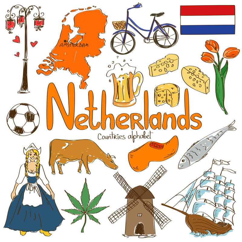 Collection of Netherlands icons. Fun colorful sketch collection of Netherlands icons, countries alphabet royalty free illustration