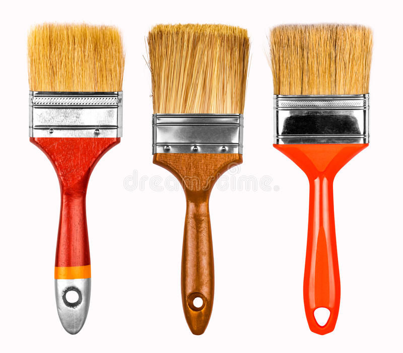 Collection of new paint brushes stock photo
