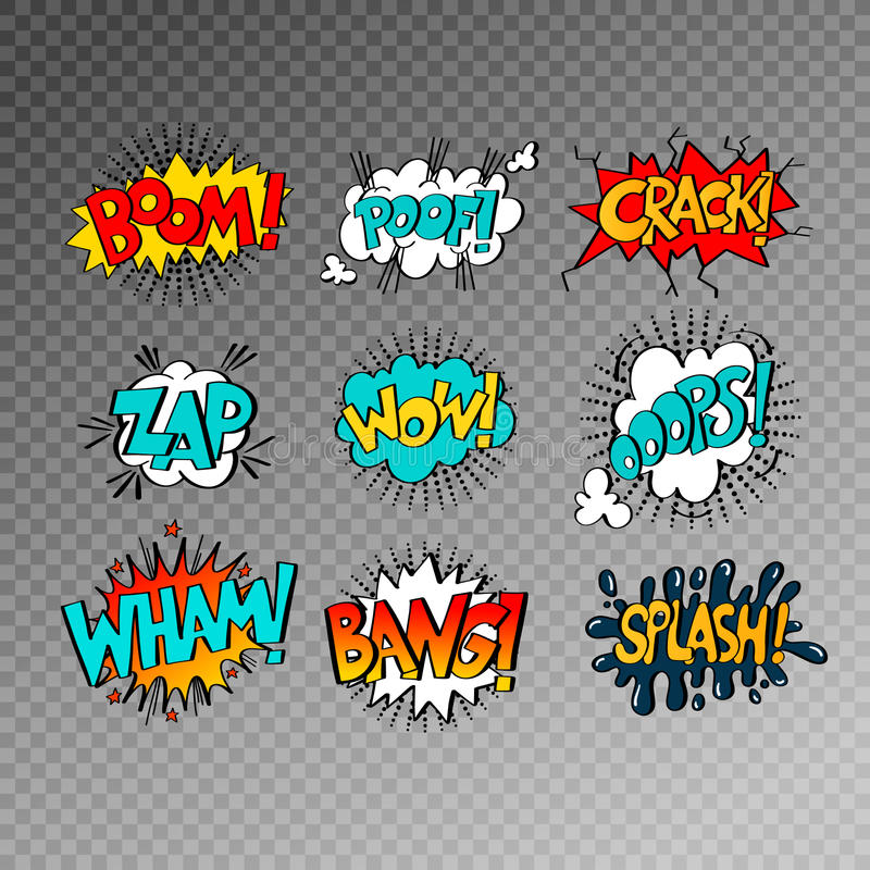 Collection of nine multicolored comic sound effects in pop art s royalty free illustration