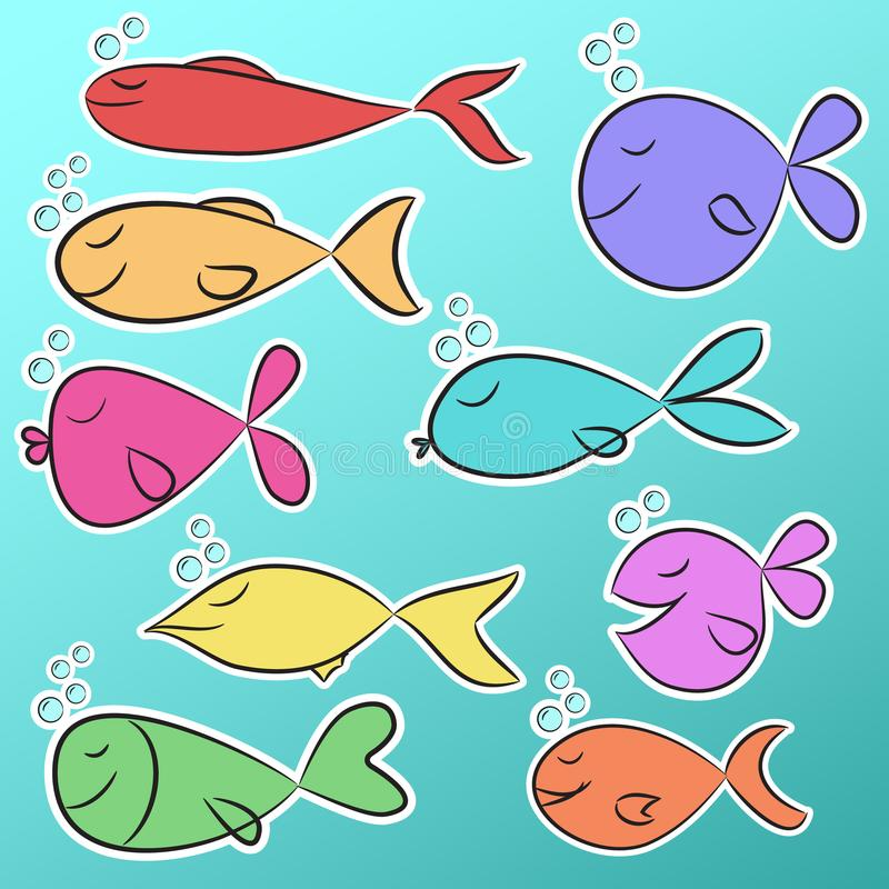 Collection of nine ready to use bright stickers with cute colorful fishes. stock illustration