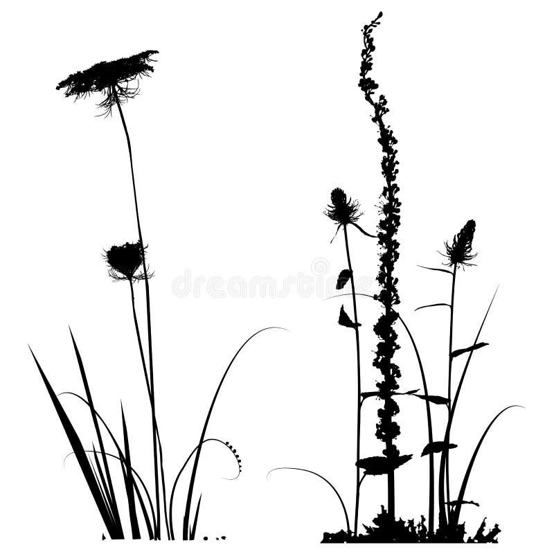 Collection noire et blanche de silhouettes d'usines pour des concepteurs illustration stock