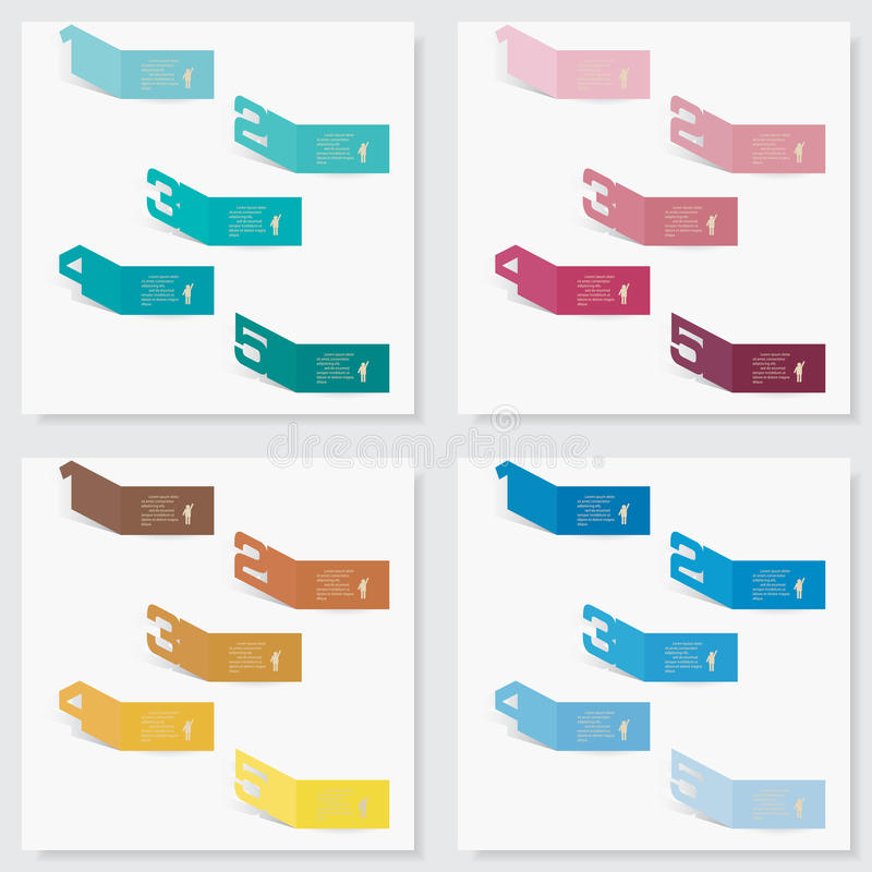 Collection of number banners template vector illustration