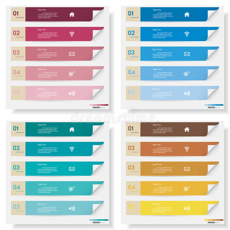 Collection of number banners template royalty free illustration