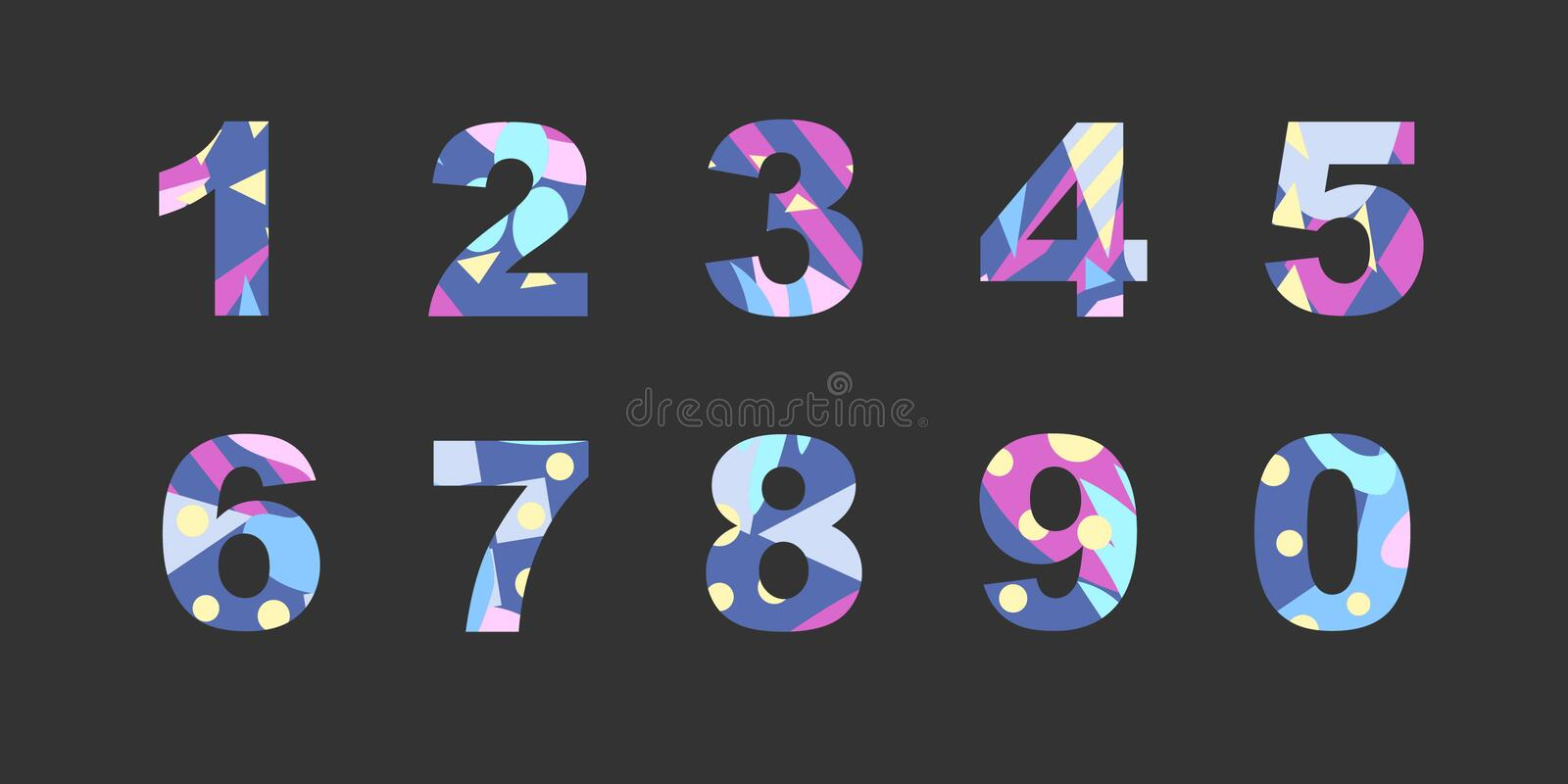 Numbers with abstract fill vector illustration