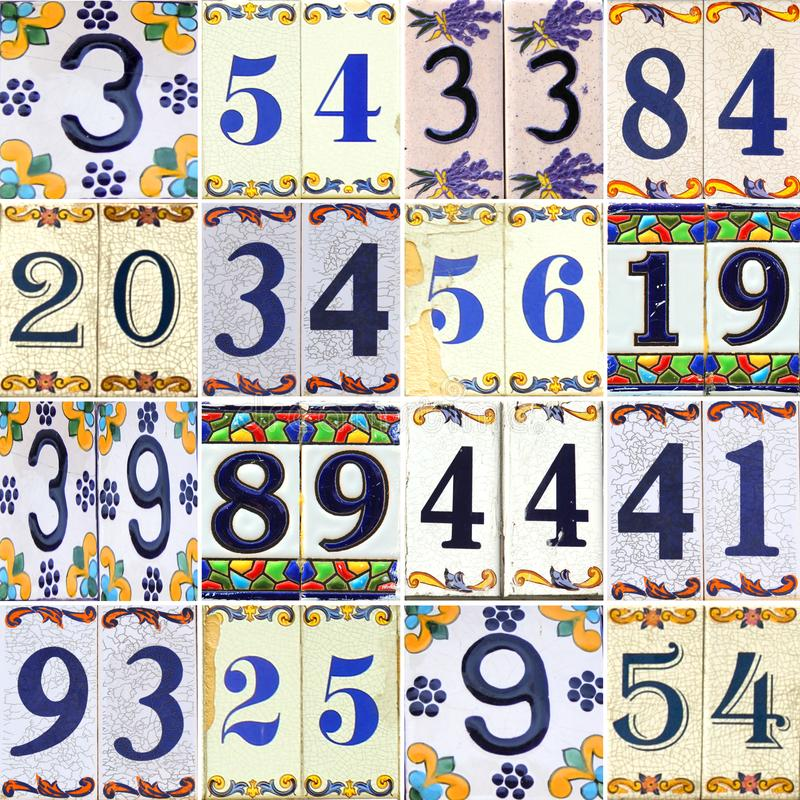 Collection numbers on tiles with flowers. Collection of flowered blue and yellow different numbers on tiles royalty free stock images