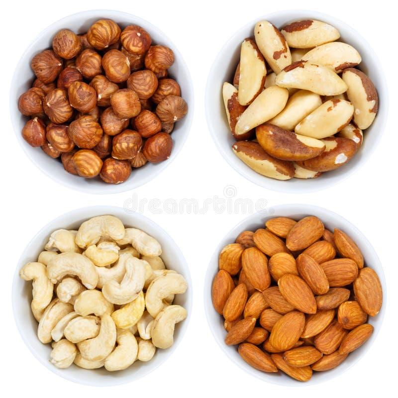 Collection Nuts d'écrou de la cuvette ci-dessus d'isolement sur le blanc image stock