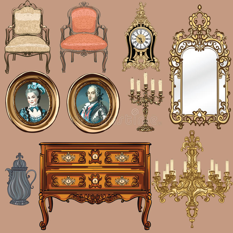 Collection of objects style Louis XV royalty free illustration