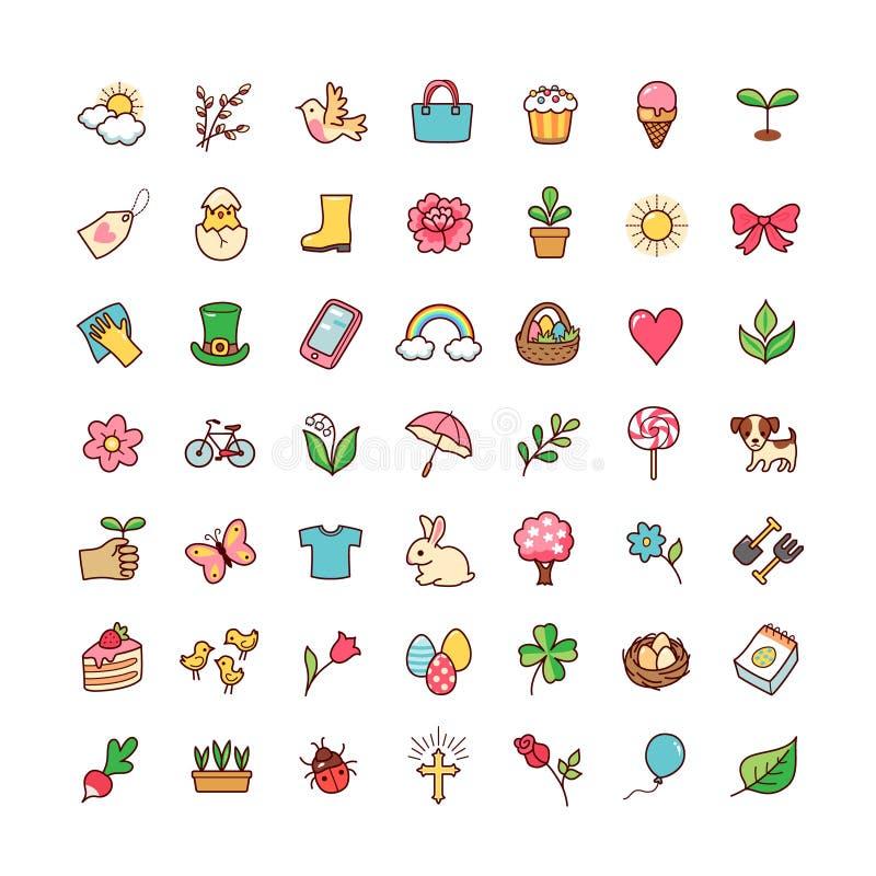 Icons set springtime vector illustration