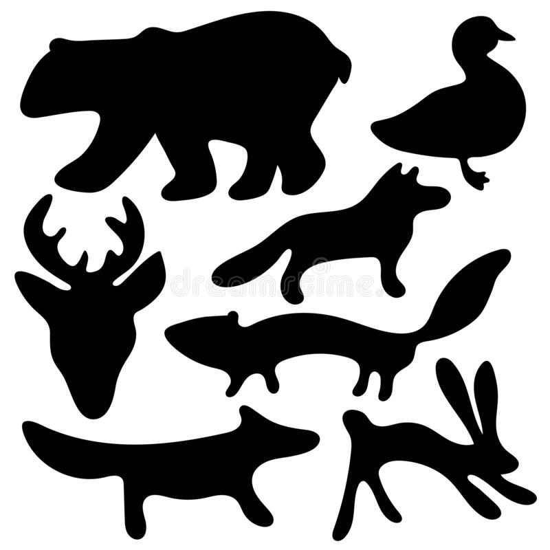 Free Collection Of Cartoon Forest Vector Animals Black And White Silhouettes - Bear, Deer, Fox, Wolf, Hare, Mink And Duck Stock Photo - 171224390