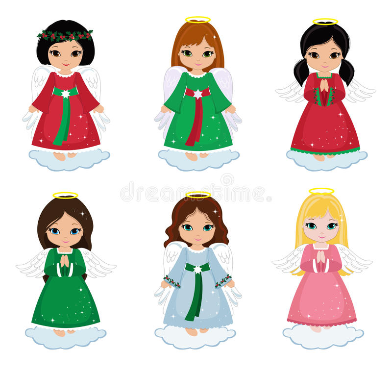 Free Collection Of Christmas Angels On White Background . Royalty Free Stock Images - 63642569