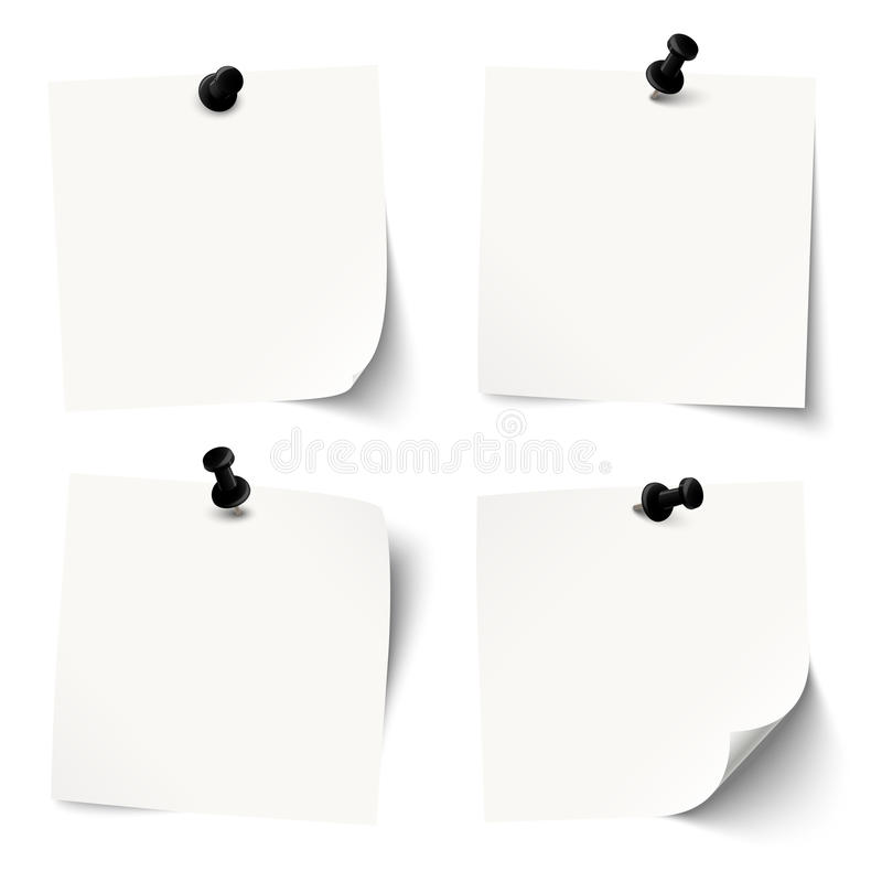 Free Collection Of Colored Sticky Papers With Black Pin Needle Stock Photos - 56388913
