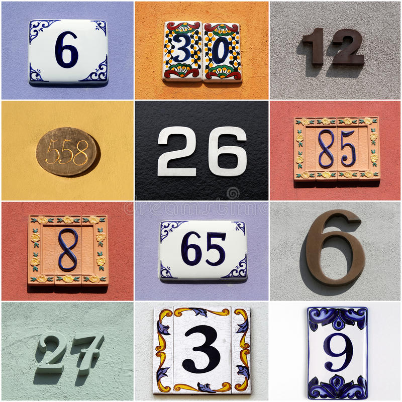 Free Collection Of Colorful House Numbers Royalty Free Stock Images - 35630289