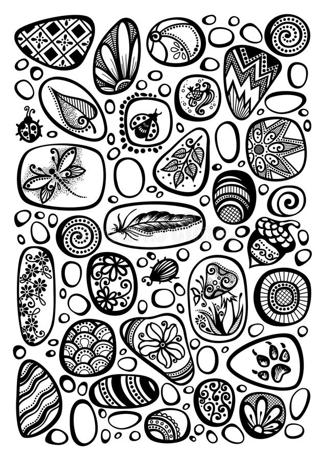 Free Collection Of Decorative Sea Pebbles With Ornaments Stock Image - 121426111