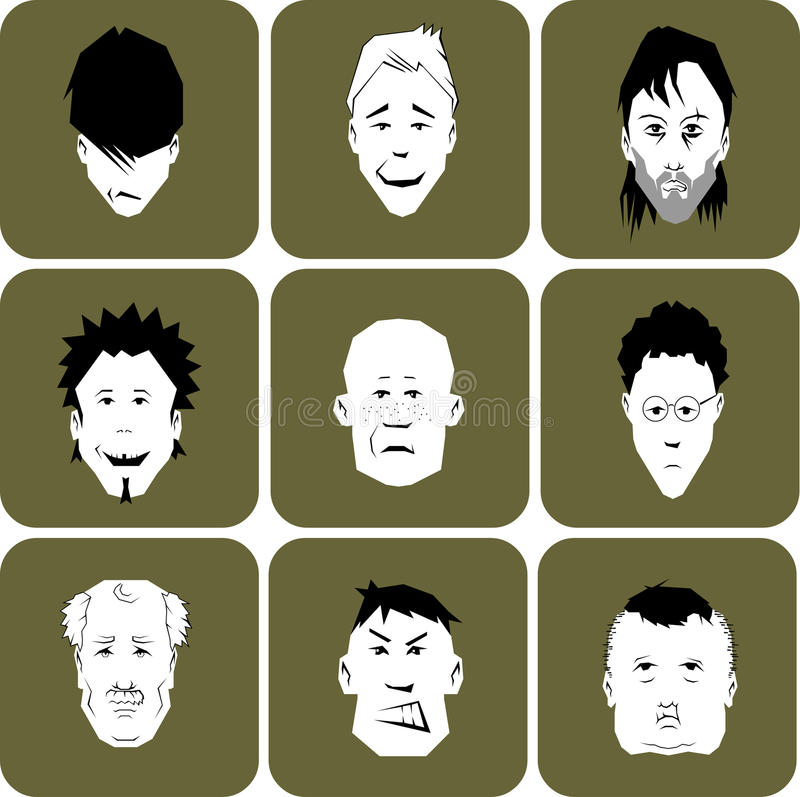 Free Collection Of Different Cartoon Men Or Male Faces. Royalty Free Stock Photography - 21910297