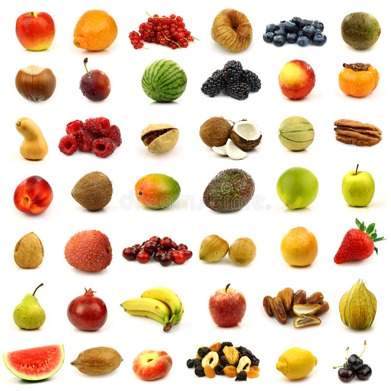 Free Collection Of Fresh And Colorful Fruits And Nuts Royalty Free Stock Image - 22005696