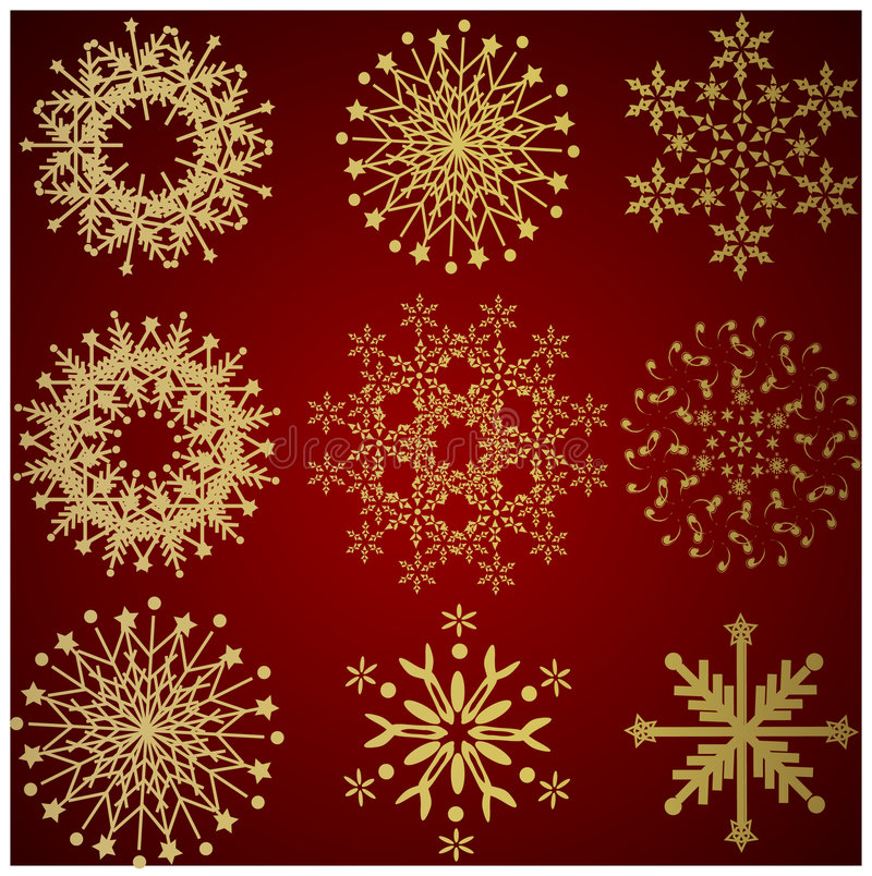 Free Collection Of Gold Winter Snowflakes Royalty Free Stock Image - 3986846