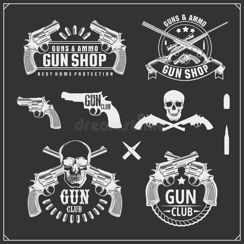 Free Collection Of Guns. Revolvers, Shotguns And Rifles. Gun Club Labels And Design Elements. Royalty Free Stock Image - 91032526