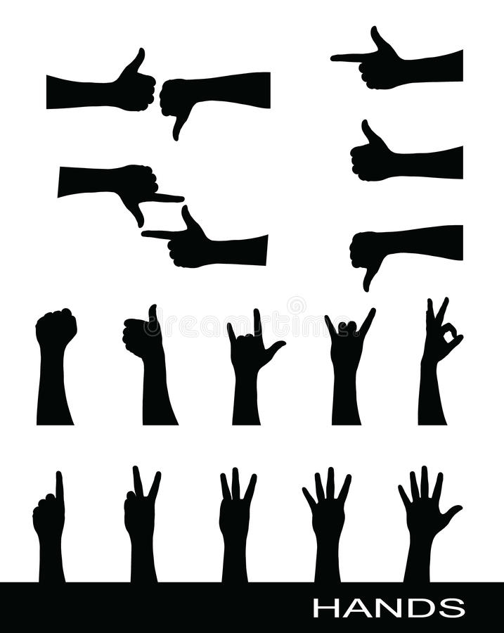 Free Collection Of Hand Sign Silhouettes Royalty Free Stock Photography - 19913427