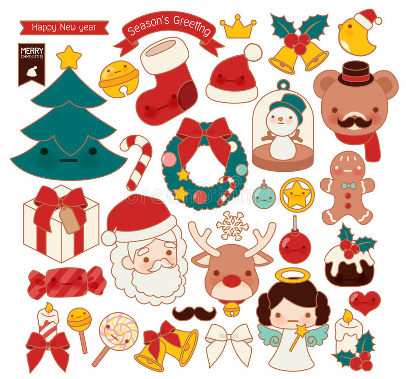 Free Collection Of Lovely Christmas Doodle Icon, Cute Snowman, Adorable Angel, Sweet Wreath , Kawaii Gingerbread , Girly Xmas Ornament Royalty Free Stock Photo - 78065935