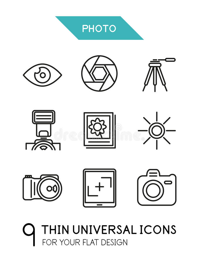 Free Collection Of Photo Trendy Thin Line Icons Stock Photo - 38283880