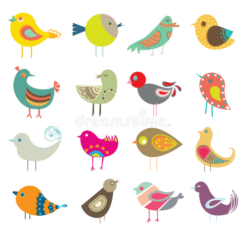 Free Collection Of Retro Cute Decorative Colorful Birds.Intricate Vector Illustration Design Set.Cartoon Stock Photography - 40565172