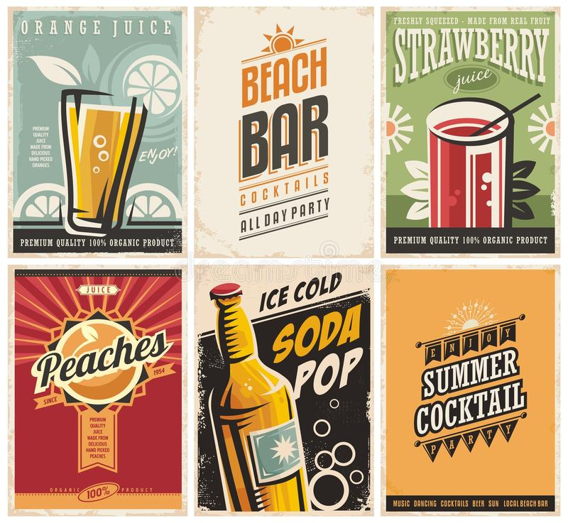 Free Collection Of Retro Posters With Organic Juices And Popular Drinks Stock Image - 89138461