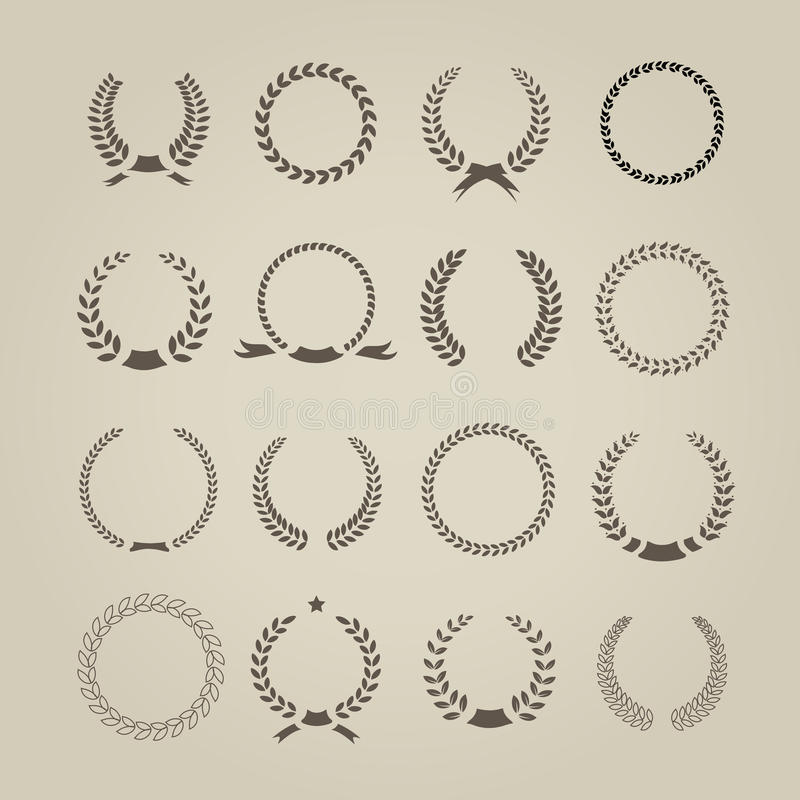 Free Collection Of Sixteen Circular Vintage Laurel Stock Photos - 43918083