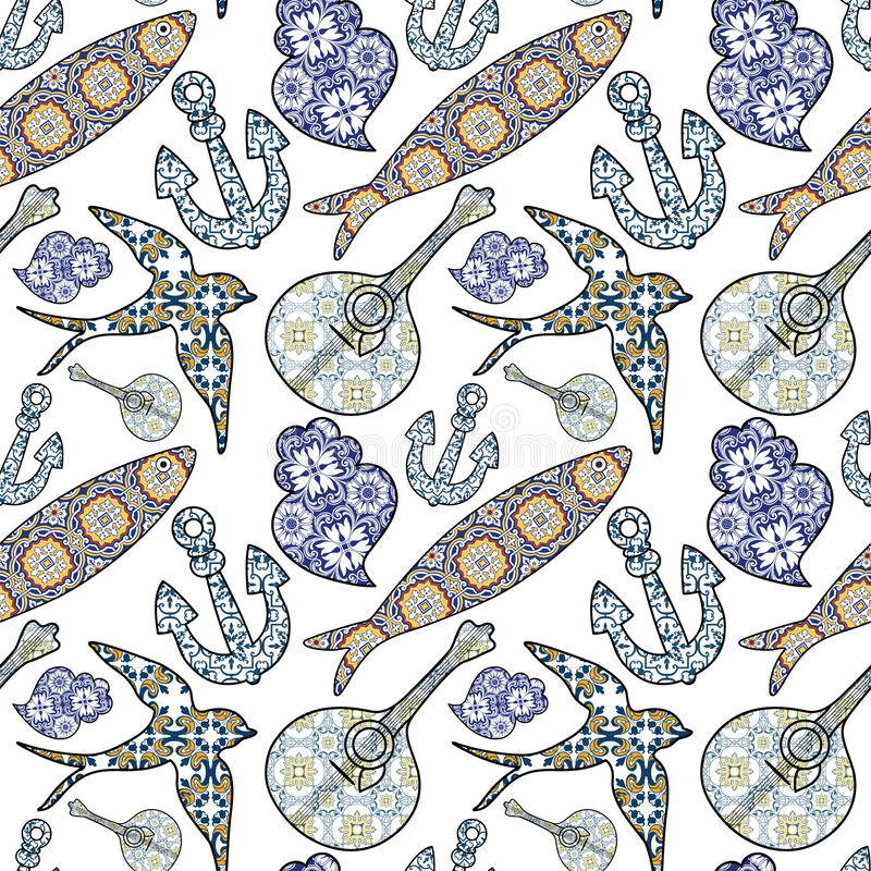 Free Collection Of Traditional Portuguese Icons In Seamless Pattern. Stock Images - 59023344