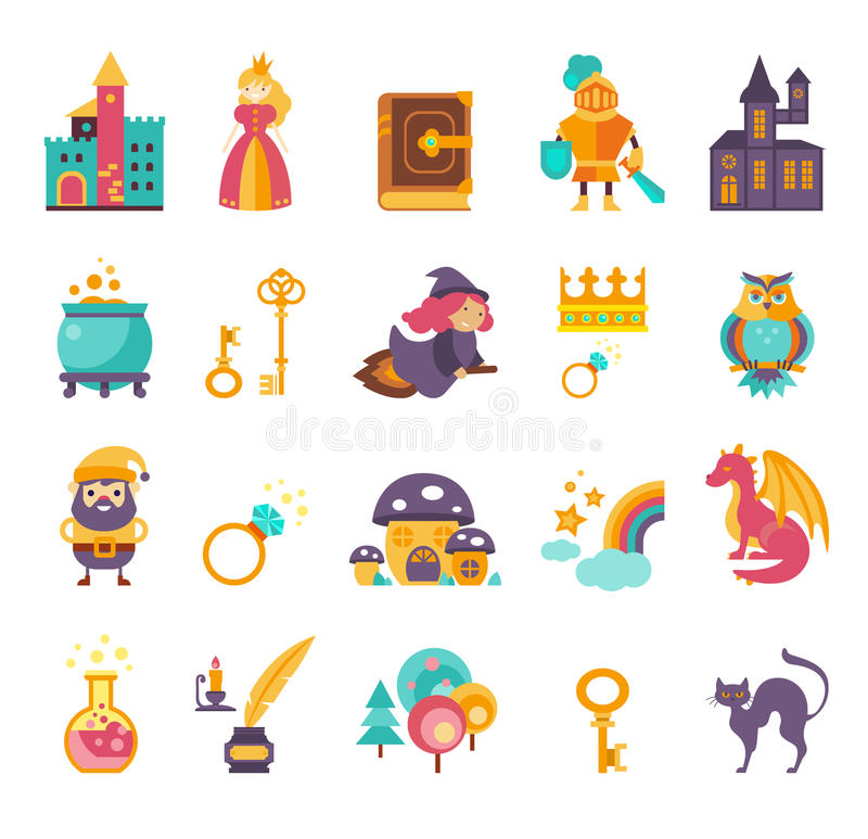 Free Collection Of Vector Fairy Tale Elements, Icons Royalty Free Stock Photo - 66827825