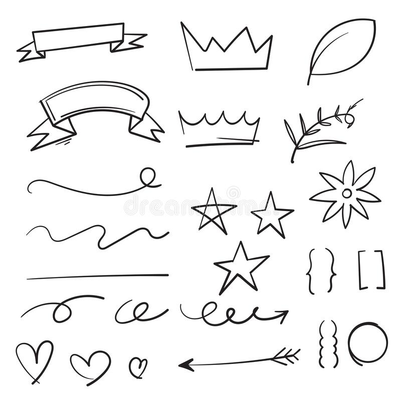 Free Collection Of Vintage Decorative Doodles. Hand Drawn Ribbon, Outline Arrows And Doodle Holidays Cards Decorations. Flower, Heart, Stock Image - 174258001