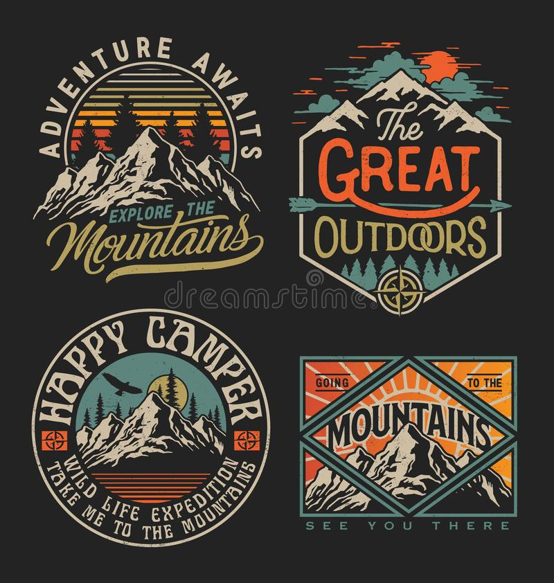 Free Collection Of Vintage Explorer, Wilderness, Adventure, Camping Emblem Graphics. Perfect For T-shirts, Apparel And Other Merchandis Stock Image - 162249021