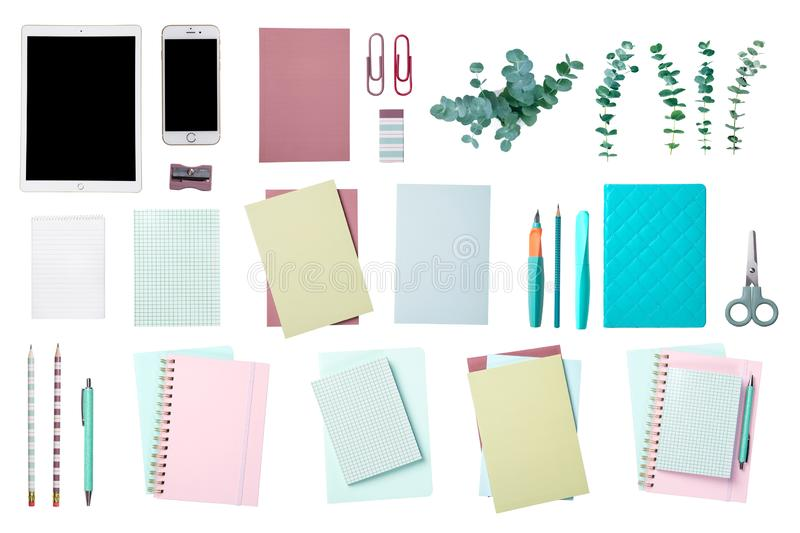 Collection of a office supplies. Isolated on a white background stock photography