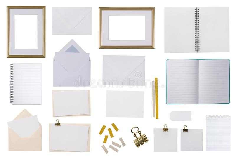 Collection of a office supplies. Isolated on a white background royalty free stock photo