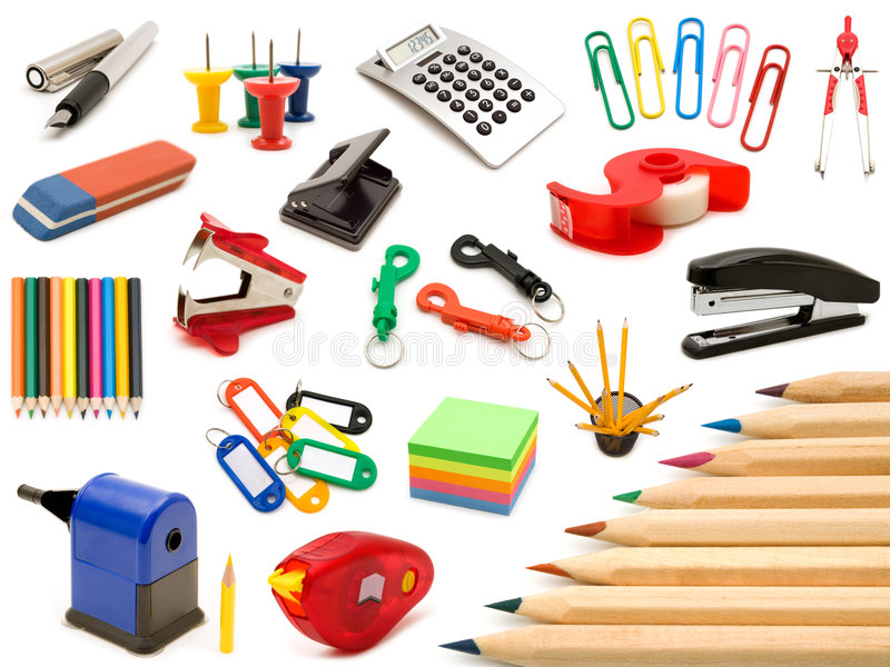 Collection office tools royalty free stock image