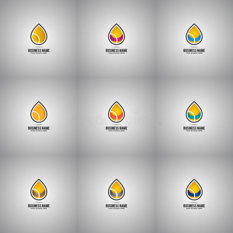Collection of Oil Drop Logo Set Company vector illustration