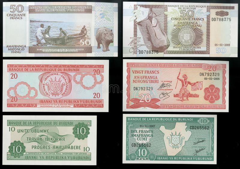 Collection of old banknotes of the Central state Bank of the Republic of Burundi, Africa royalty free stock photo