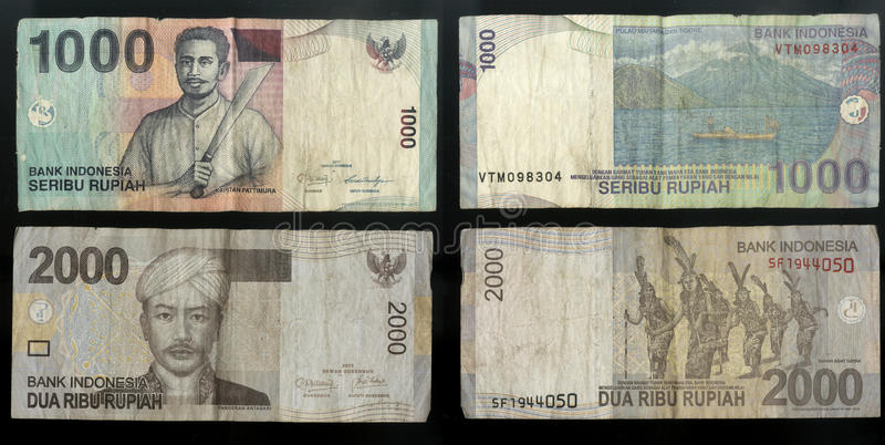 Collection of old banknotes of the Central state Bank of the Republic of Indonesia stock image