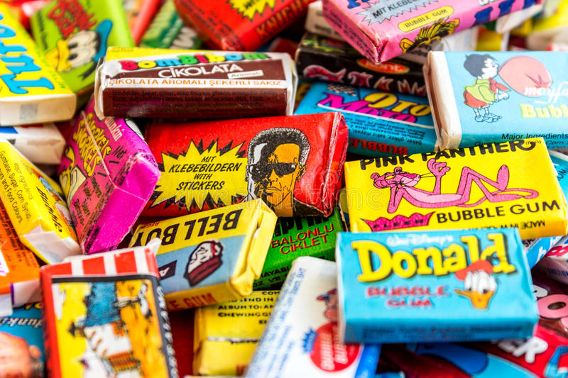 Collection of old chewing gums stock images