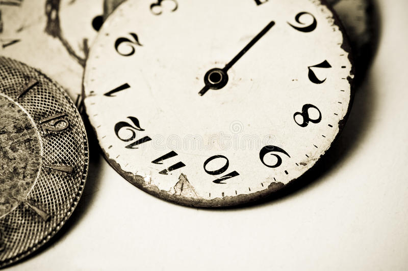 Collection of old clock dials royalty free stock images